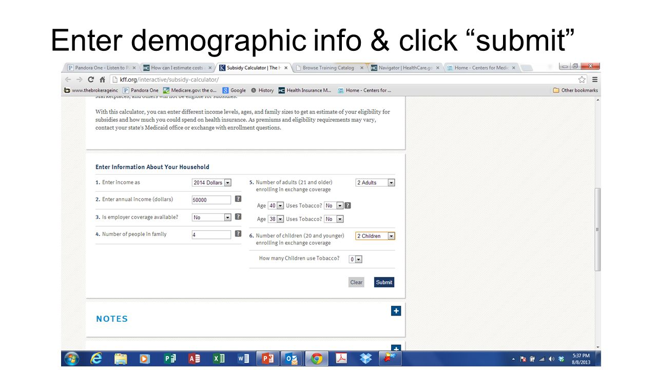 Enter demographic info & click submit