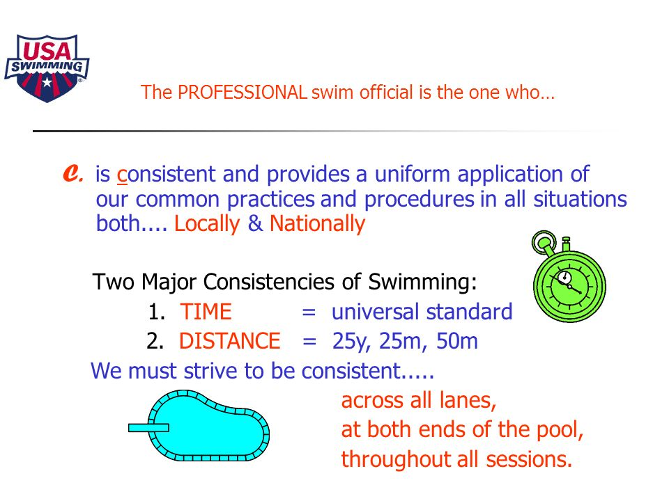 The PROFESSIONAL swim official is the one who… B.