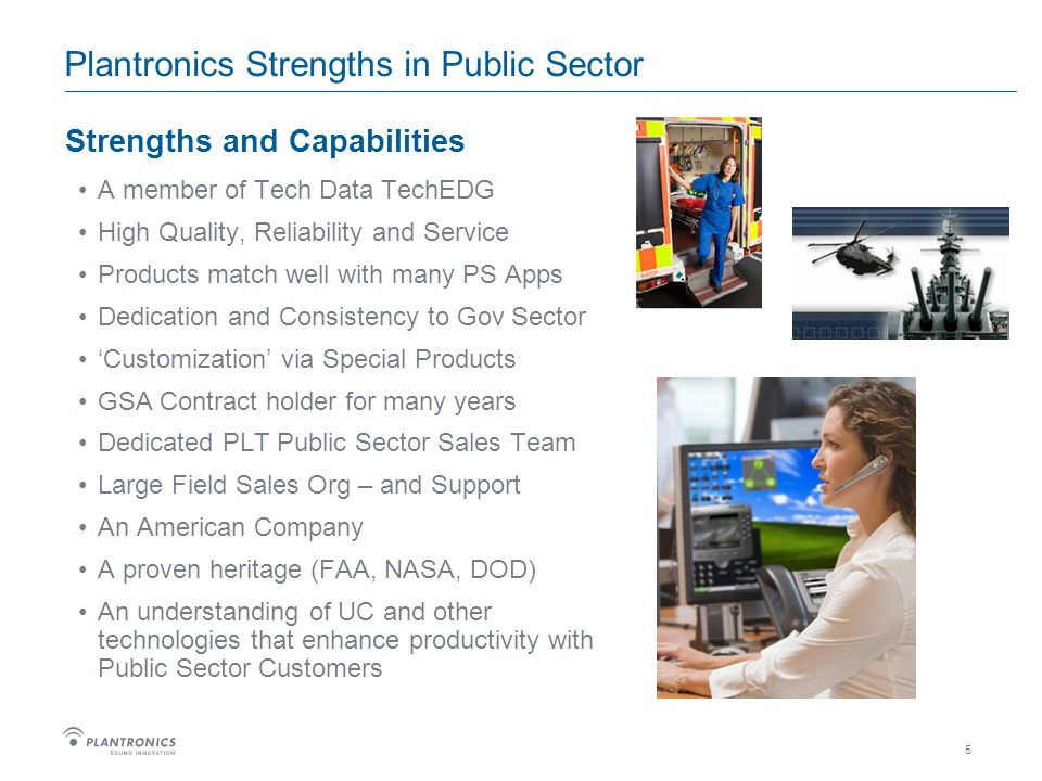 5 Plantronics Strengths in Public Sector Strengths and Capabilities A member of Tech Data TechEDG High Quality, Reliability and Service Products match well with many PS Apps Dedication and Consistency to Gov Sector Customization via Special Products GSA Contract holder for many years Dedicated PLT Public Sector Sales Team Large Field Sales Org – and Support An American Company A proven heritage (FAA, NASA, DOD) An understanding of UC and other technologies that enhance productivity with Public Sector Customers