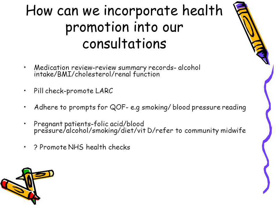 How can we incorporate health promotion into our consultations Medication review-review summary records- alcohol intake/BMI/cholesterol/renal function