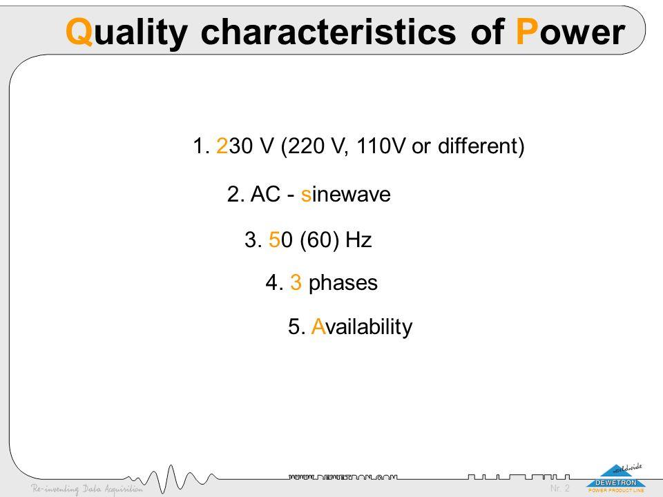 Nr. 13 POWER PRODUCT LINE EN 50160 (5) dips: <60%, 10-1000 per year Voltage dips