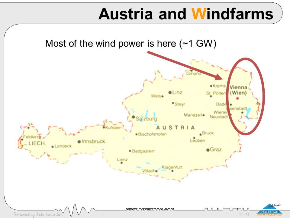 Nr. 44 POWER PRODUCT LINE Austria and Windfarms Most of the wind power is here (~1 GW)