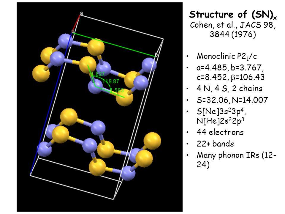 Structure of (SN) x Cohen, et al., JACS 98, 3844 (1976) Monoclinic P2 1 /c a=4.485, b=3.767, c=8.452, =106.43 4 N, 4 S, 2 chains S=32.06, N=14.007 S[Ne]3s 2 3p 4, N[He]2s 2 2p 3 44 electrons 22+ bands Many phonon IRs (12- 24)