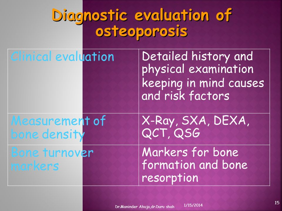 Clinical evaluation Detailed history and physical examination keeping in mind causes and risk factors Measurement of bone density X-Ray, SXA, DEXA, QC