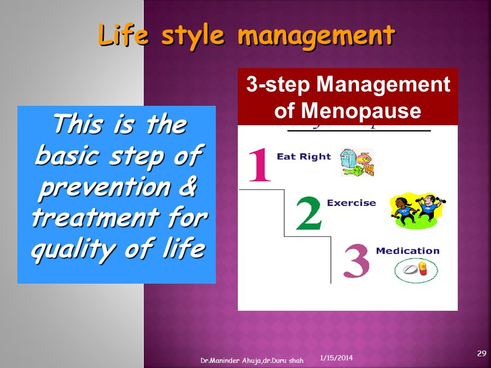 Life style management This is the basic step of prevention & treatment for quality of life 3-step Management of Menopause 1/15/2014 Dr.Maninder Ahuja,