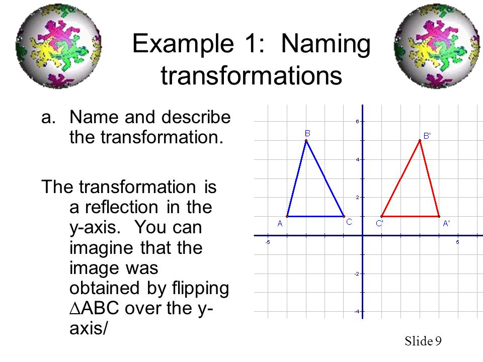 Slide 9 Example 1: Naming transformations a.Name and describe the transformation. The transformation is a reflection in the y-axis. You can imagine th
