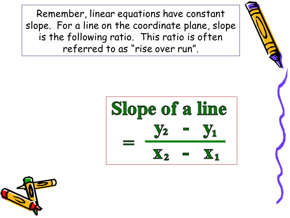 Remember, linear equations have constant slope. For a line on the coordinate plane, slope is the following ratio. This ratio is often referred to as r