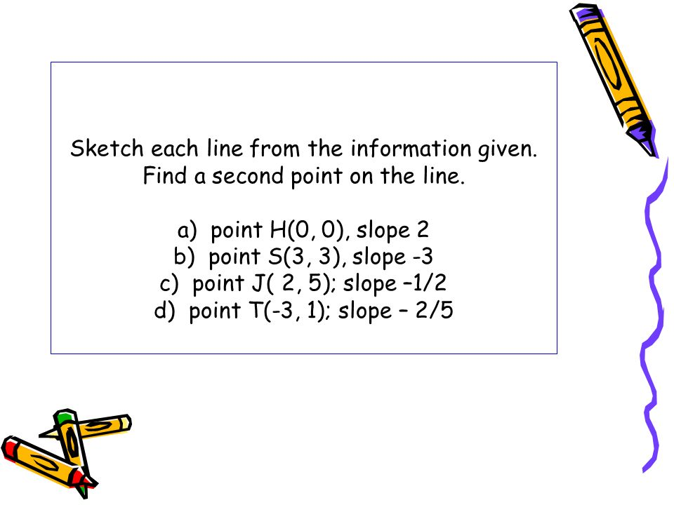 Sketch each line from the information given. Find a second point on the line. a) point H(0, 0), slope 2 b) point S(3, 3), slope -3 c) point J( 2, 5);