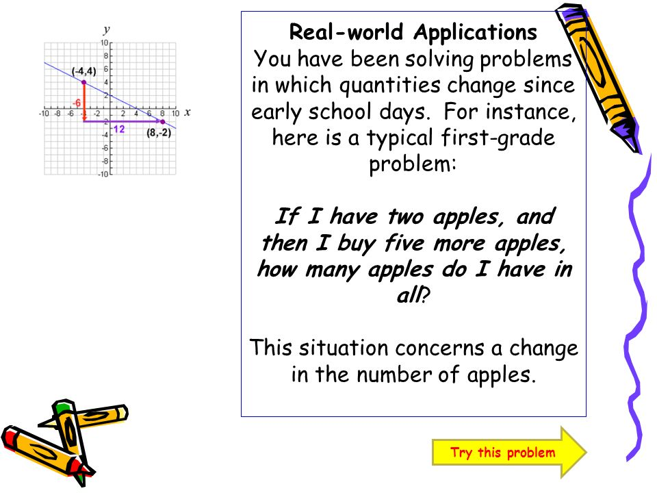Real-world Applications You have been solving problems in which quantities change since early school days. For instance, here is a typical first-grade