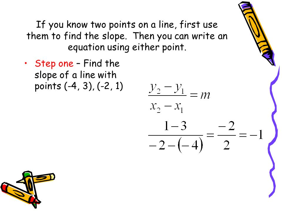 If you know two points on a line, first use them to find the slope. Then you can write an equation using either point. Step one – Find the slope of a