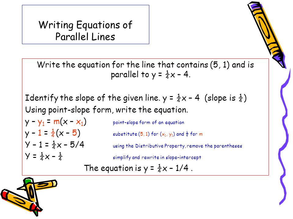 Writing Equations of Parallel Lines Write the equation for the line that contains (5, 1) and is parallel to y = ¼x – 4. Identify the slope of the give