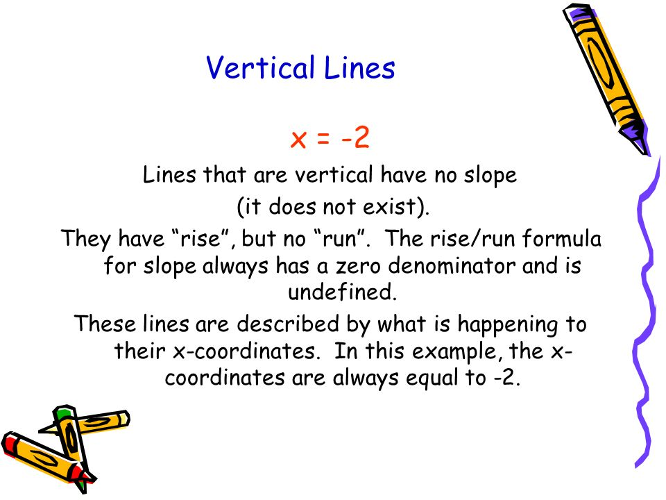 Vertical Lines x = -2 Lines that are vertical have no slope (it does not exist). They have rise, but no run. The rise/run formula for slope always has