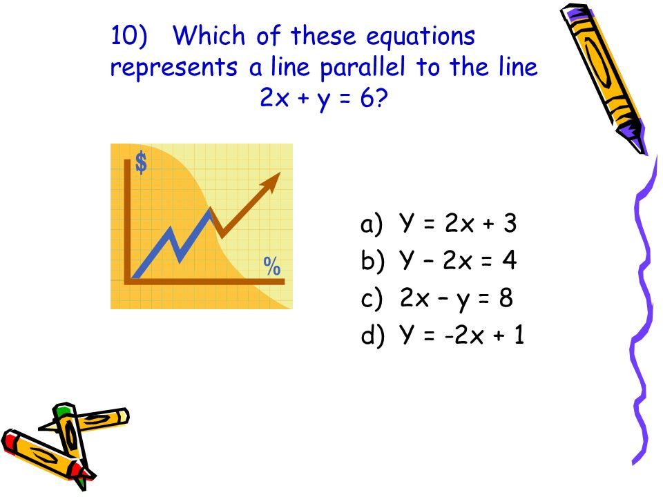 10)Which of these equations represents a line parallel to the line 2x + y = 6? a)Y = 2x + 3 b)Y – 2x = 4 c)2x – y = 8 d)Y = -2x + 1