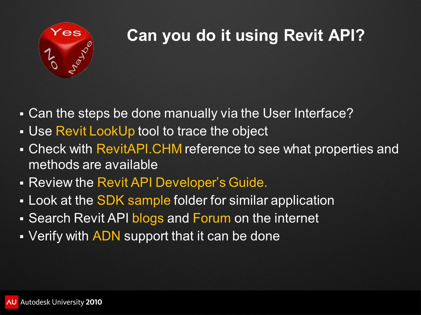 Can you do it using Revit API? Can the steps be done manually via the User Interface? Use Revit LookUp tool to trace the object Check with RevitAPI.CH