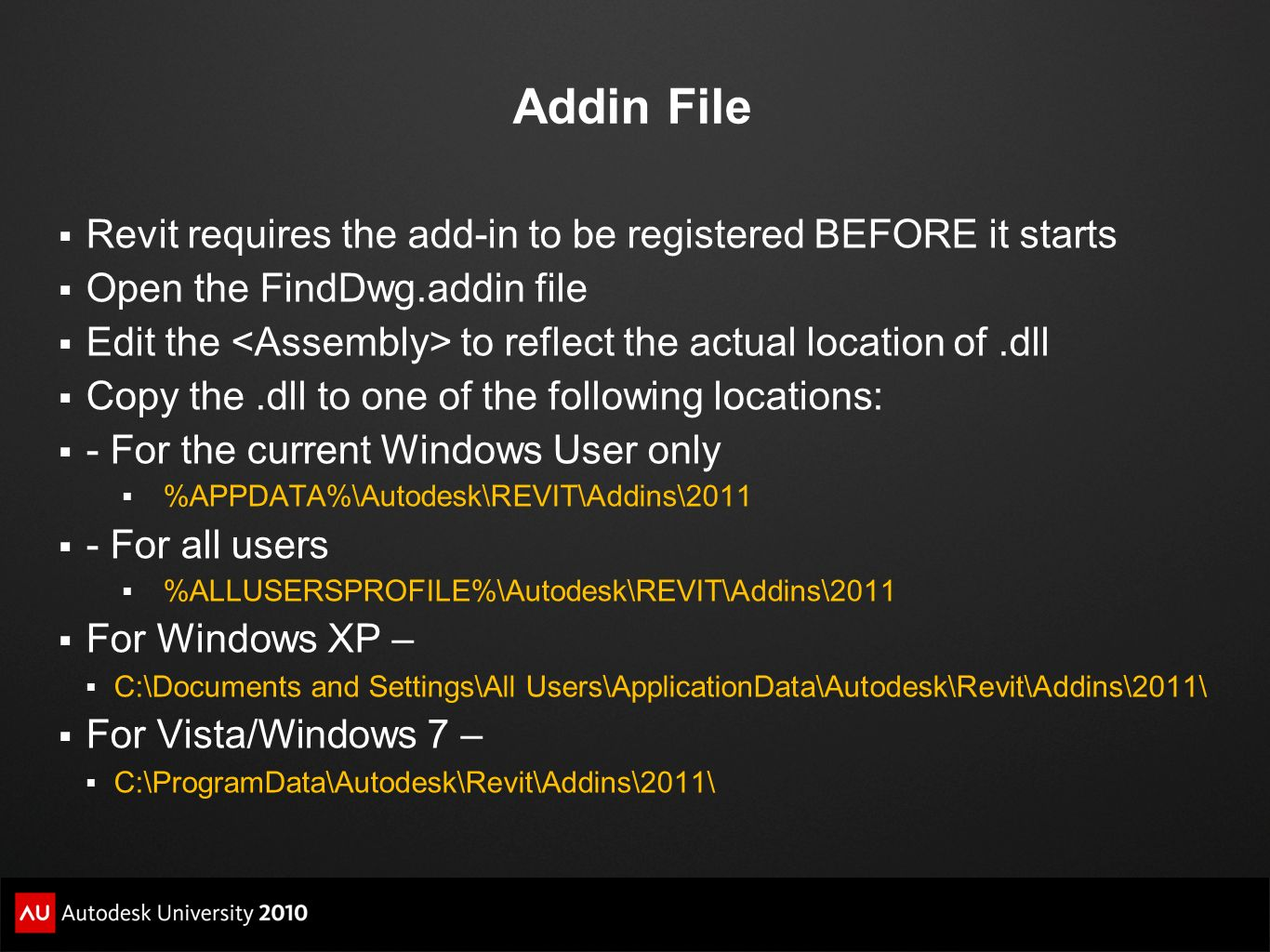 Addin File Revit requires the add-in to be registered BEFORE it starts Open the FindDwg.addin file Edit the to reflect the actual location of.dll Copy