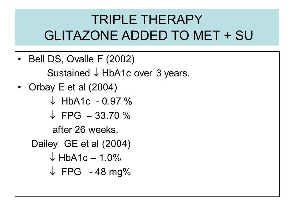 TRIPLE THERAPY GLITAZONE ADDED TO MET + SU Bell DS, Ovalle F (2002) Sustained HbA1c over 3 years. Orbay E et al (2004) HbA1c - 0.97 % FPG – 33.70 % af