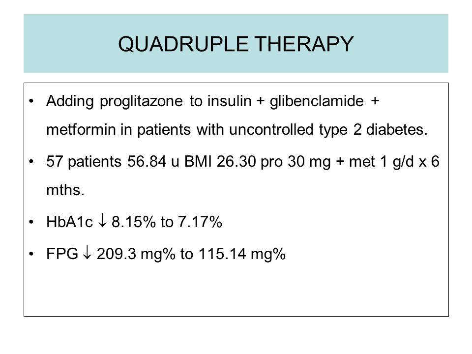 QUADRUPLE THERAPY Adding proglitazone to insulin + glibenclamide + metformin in patients with uncontrolled type 2 diabetes. 57 patients 56.84 u BMI 26