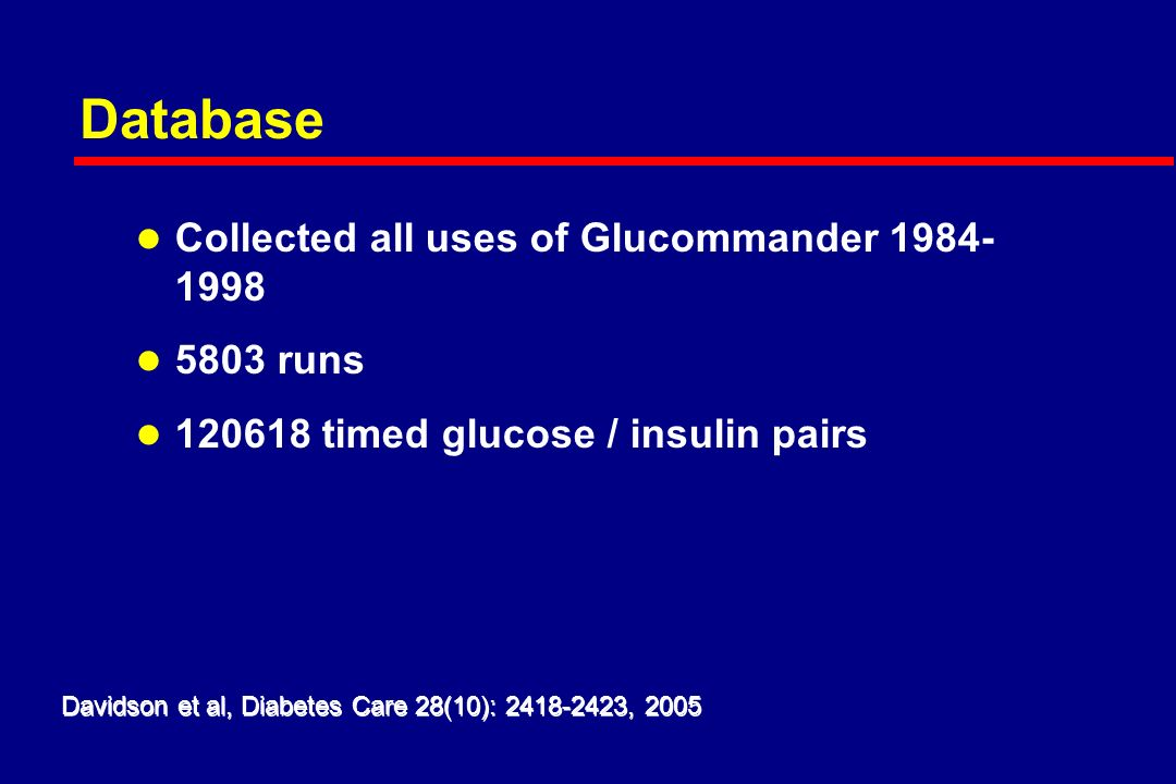 Hours Glucose Multiplier Insulin Glucose Typical Glucommander Run Hi Low Davidson et al, Diabetes Care 28(10): , 2005