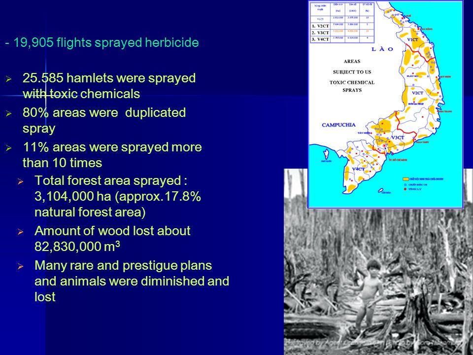 - 19,905 flights sprayed herbicide 25.585 hamlets were sprayed with toxic chemicals 80% areas were duplicated spray 11% areas were sprayed more than 1