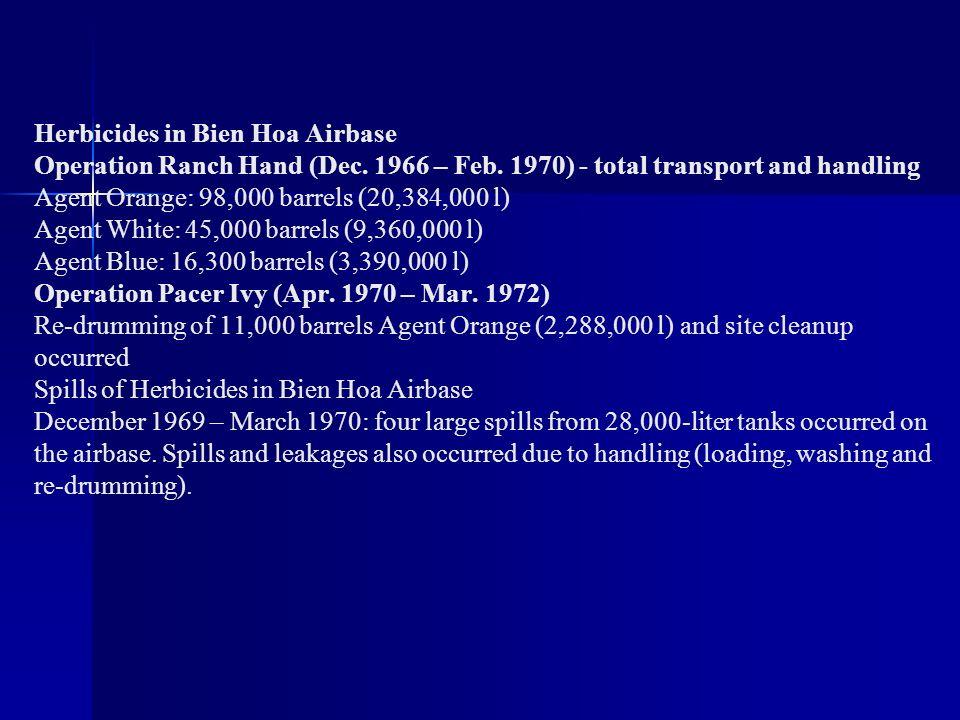 Herbicides in Bien Hoa Airbase Operation Ranch Hand (Dec. 1966 – Feb. 1970) - total transport and handling Agent Orange: 98,000 barrels (20,384,000 l)