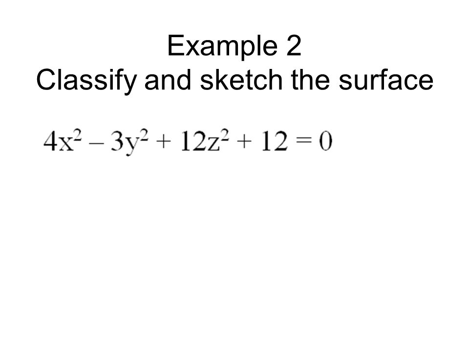 Example 2 Classify and sketch the surface
