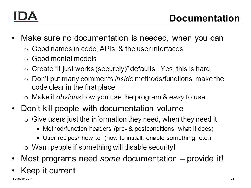 Documentation? 15 January 201424