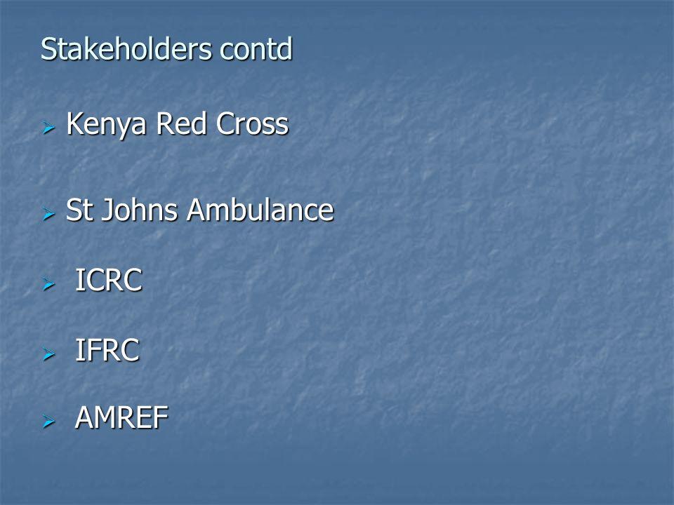 Stakeholders contd Kenya Red Cross Kenya Red Cross St Johns Ambulance St Johns Ambulance ICRC ICRC IFRC IFRC AMREF AMREF