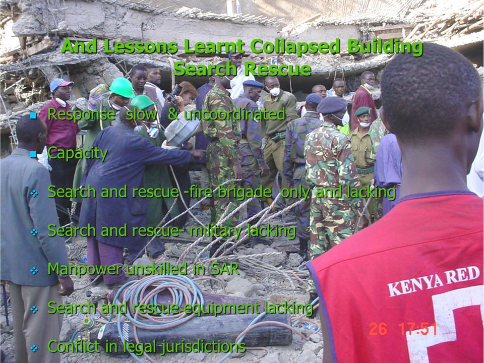 And Lessons Learnt Collapsed Building Search Rescue Responseslow & uncoordinated Responseslow & uncoordinated Capacity Capacity Search and rescue -fir