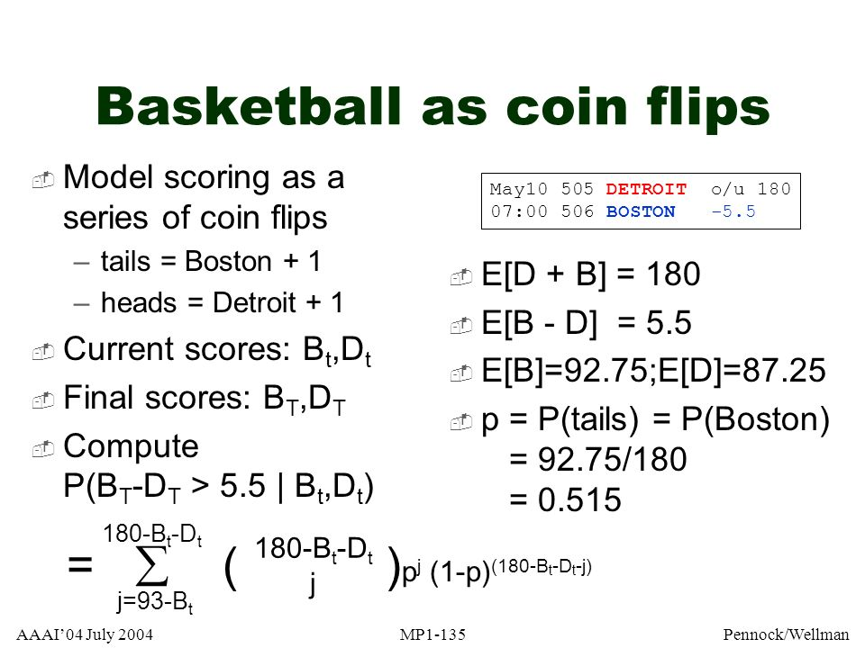 AAAI04 July 2004MP1-135Pennock/Wellman Basketball as coin flips Model scoring as a series of coin flips –tails = Boston + 1 –heads = Detroit + 1 Curre