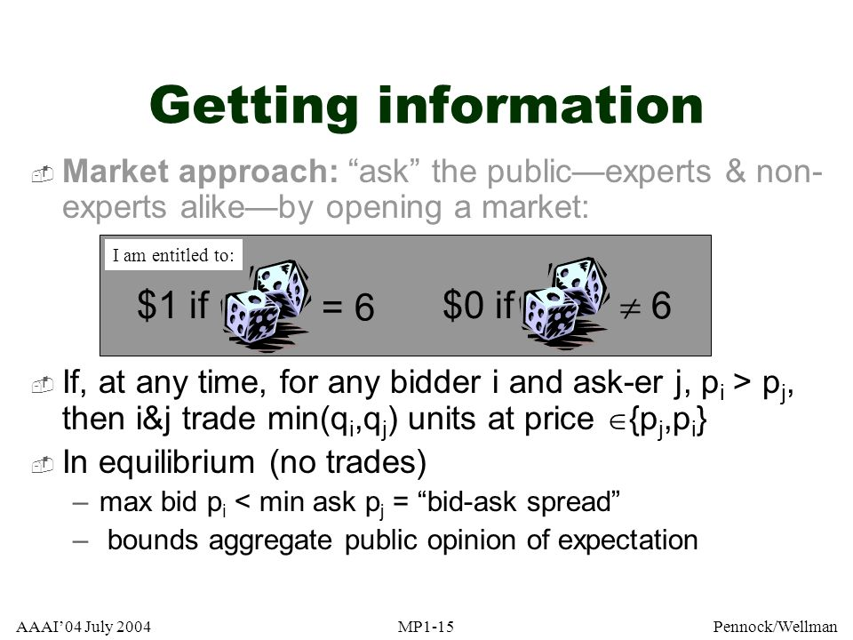 AAAI04 July 2004MP1-15Pennock/Wellman Getting information Market approach: ask the publicexperts & non- experts alikeby opening a market: If, at any t