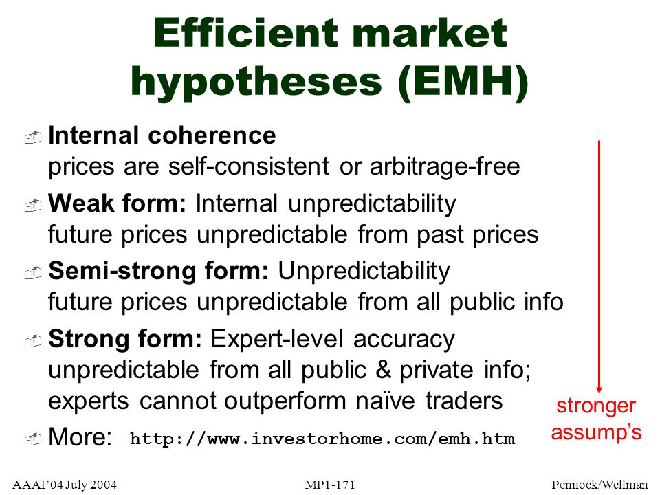 AAAI04 July 2004MP1-171Pennock/Wellman Efficient market hypotheses (EMH) Internal coherence prices are self-consistent or arbitrage-free Weak form: In