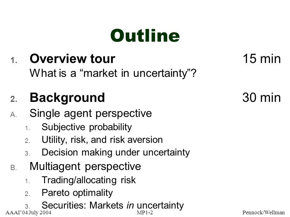 AAAI04 July 2004MP1-143Pennock/Wellman Put-call parity stock price s - call price + put price = strike price k stock price s 1020304050 put 30 = max[0,20-s] payoff buy stock k=20 call 30 = max[0,s-20] - call 30 = - max[0,s-20]