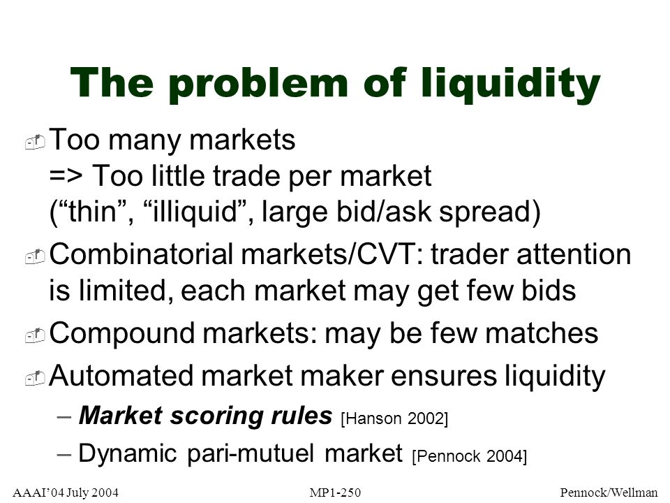 AAAI04 July 2004MP1-250Pennock/Wellman The problem of liquidity Too many markets => Too little trade per market (thin, illiquid, large bid/ask spread)
