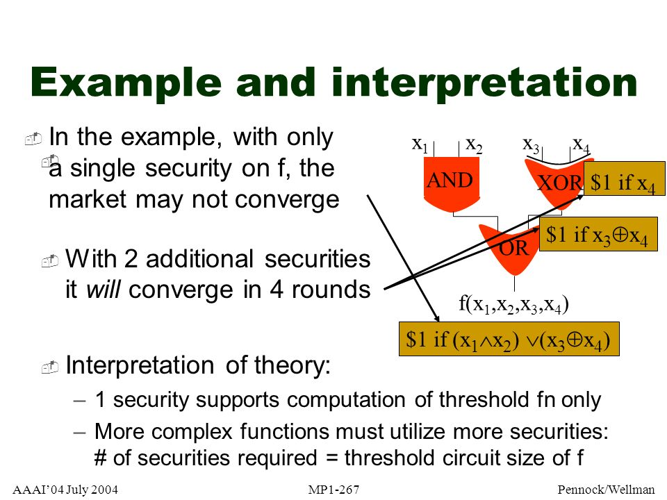 AAAI04 July 2004MP1-267Pennock/Wellman Interpretation of theory: –1 security supports computation of threshold fn only –More complex functions must ut
