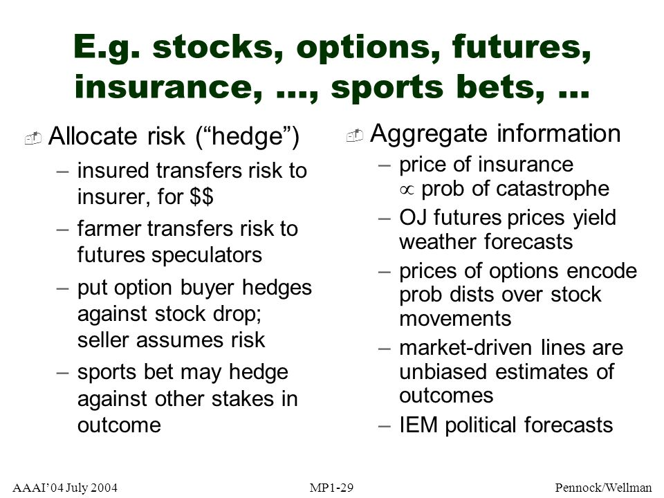 AAAI04 July 2004MP1-29Pennock/Wellman E.g. stocks, options, futures, insurance,..., sports bets,... Allocate risk (hedge) –insured transfers risk to i