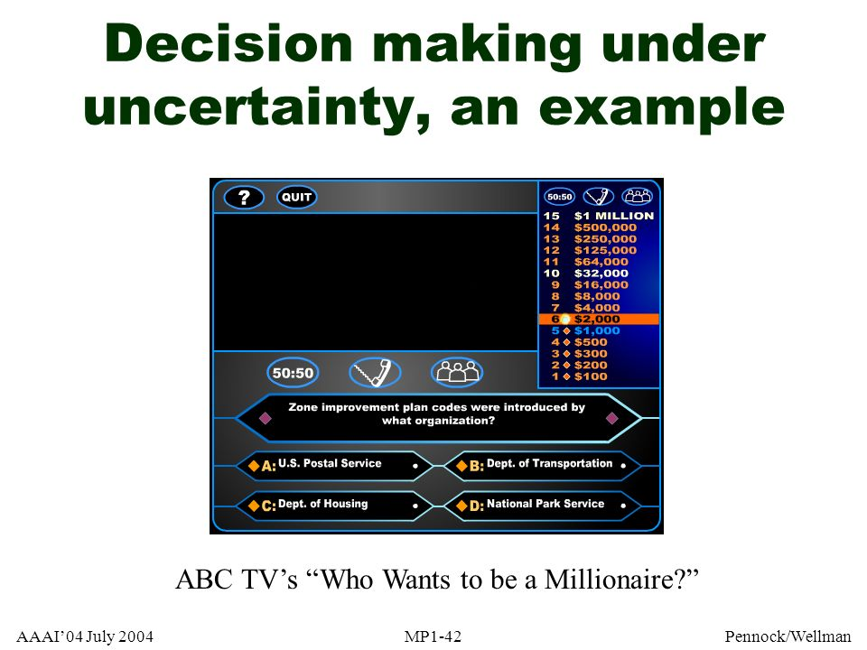 AAAI04 July 2004MP1-42Pennock/Wellman Decision making under uncertainty, an example ABC TVs Who Wants to be a Millionaire?