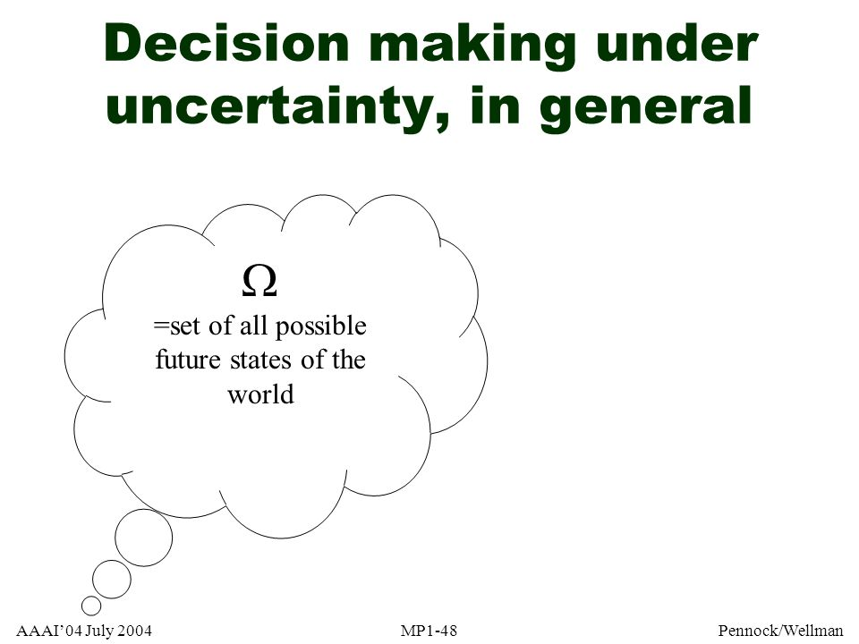 AAAI04 July 2004MP1-48Pennock/Wellman Decision making under uncertainty, in general =set of all possible future states of the world