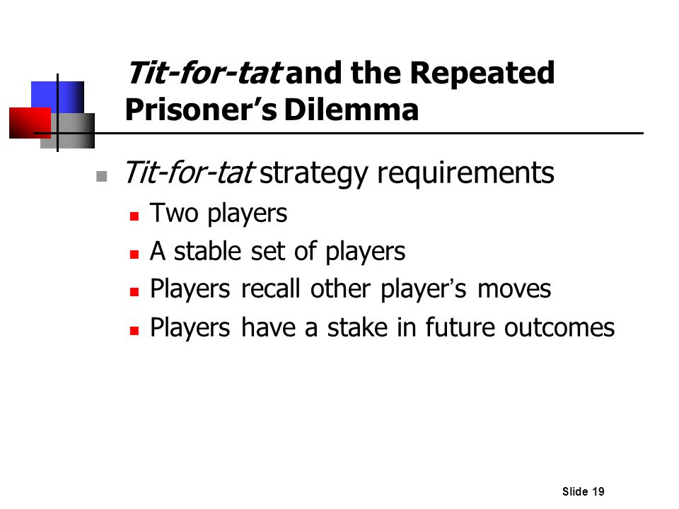 Slide 19 Tit-for-tat strategy requirements Two players A stable set of players Players recall other player s moves Players have a stake in future outc