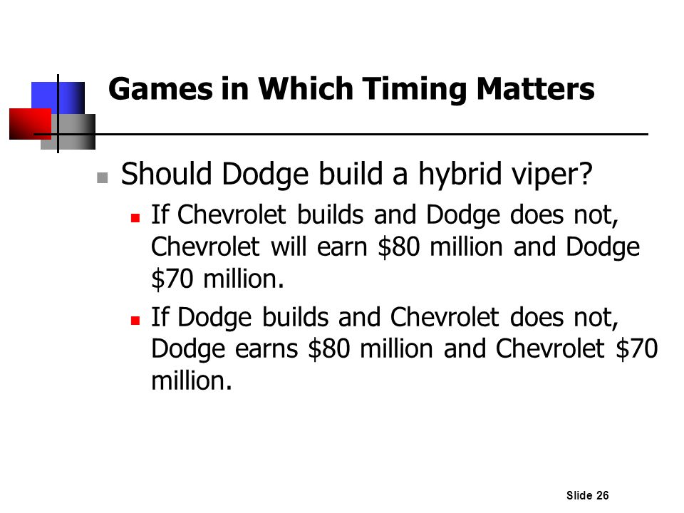 Slide 26 Should Dodge build a hybrid viper? If Chevrolet builds and Dodge does not, Chevrolet will earn $80 million and Dodge $70 million. If Dodge bu
