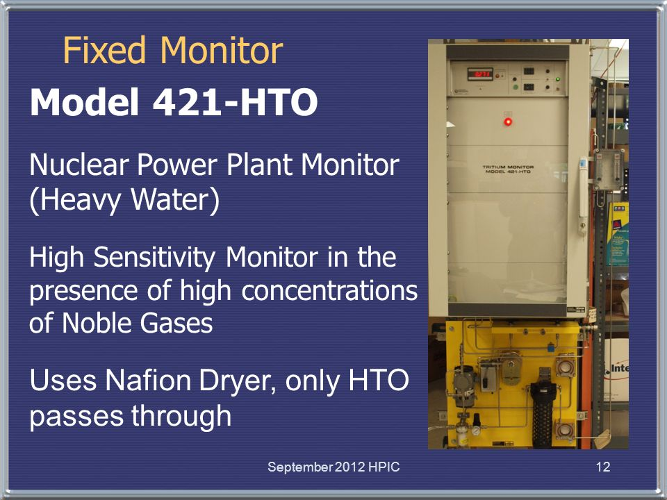 Fixed Monitor Model 421-HTO Nuclear Power Plant Monitor (Heavy Water) High Sensitivity Monitor in the presence of high concentrations of Noble Gases U