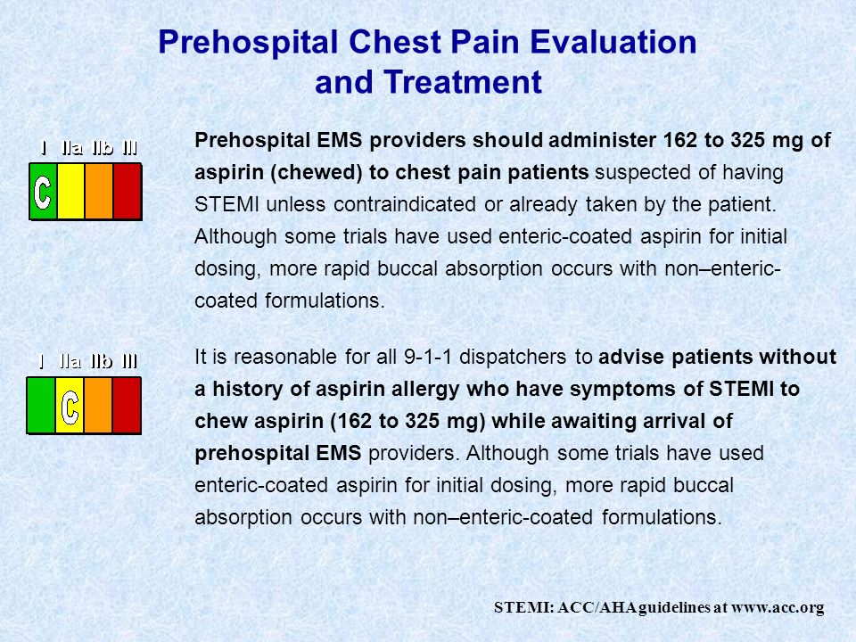 Prehospital Chest Pain Evaluation and Treatment Prehospital EMS providers should administer 162 to 325 mg of aspirin (chewed) to chest pain patients suspected of having STEMI unless contraindicated or already taken by the patient.