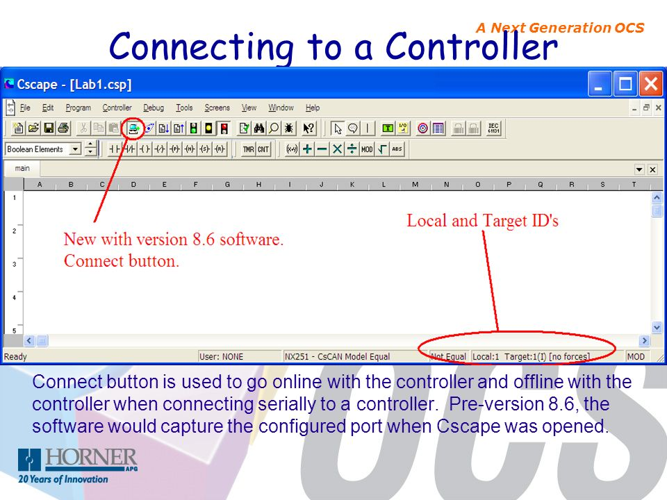 A Next Generation OCS Connecting to a Controller Connect button is used to go online with the controller and offline with the controller when connecti