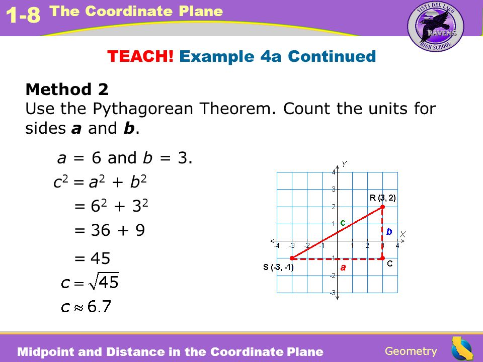 Geometry 1-8 The Coordinate Plane Midpoint and Distance in the Coordinate Plane Method 2 Use the Pythagorean Theorem. Count the units for sides a and
