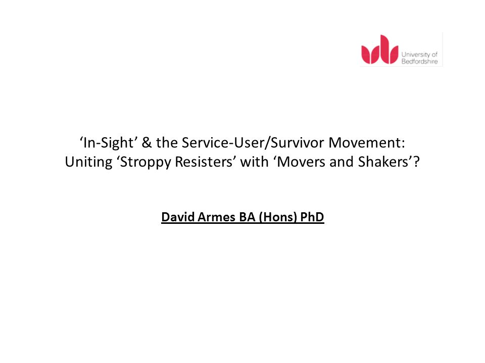 Selected Conclusions On the one hand, user/survivor resistance to formalisation based on pride suggests that an informal, empathetic, self-help, and altruistic culture, possibly an expression of wider political vision of empowerment, exists within the movement.