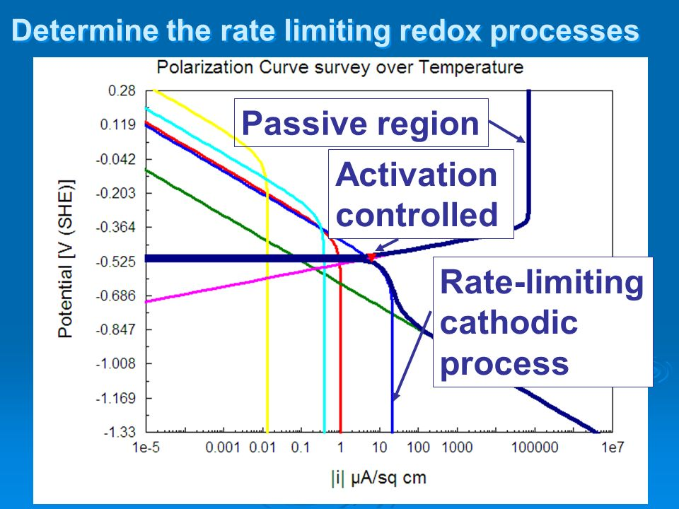 Determine the rate limiting redox processes Rate-limiting cathodic process Activation controlled Passive region