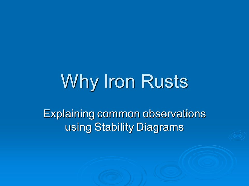 Why Iron Rusts Explaining common observations using Stability Diagrams