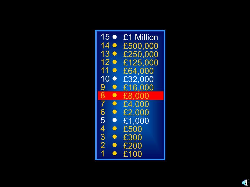 A: Awe C: Miracle B: Conversion D: Numinous 50:50 15 14 13 12 11 10 9 8 7 6 5 4 3 2 1 £1 Million £500,000 £250,000 £125,000 £64,000 £32,000 £16,000 £8
