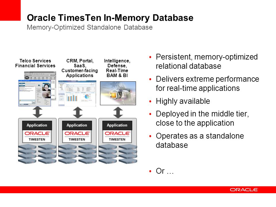 Oracle TimesTen In-Memory Database Memory-Optimized Standalone Database Persistent, memory-optimized relational database Delivers extreme performance for real-time applications Highly available Deployed in the middle tier, close to the application Operates as a standalone database Or … Application Telco Services Financial Services CRM, Portal, SaaS, Customer-facing Applications Intelligence, Defense, Real-Time BAM & BI