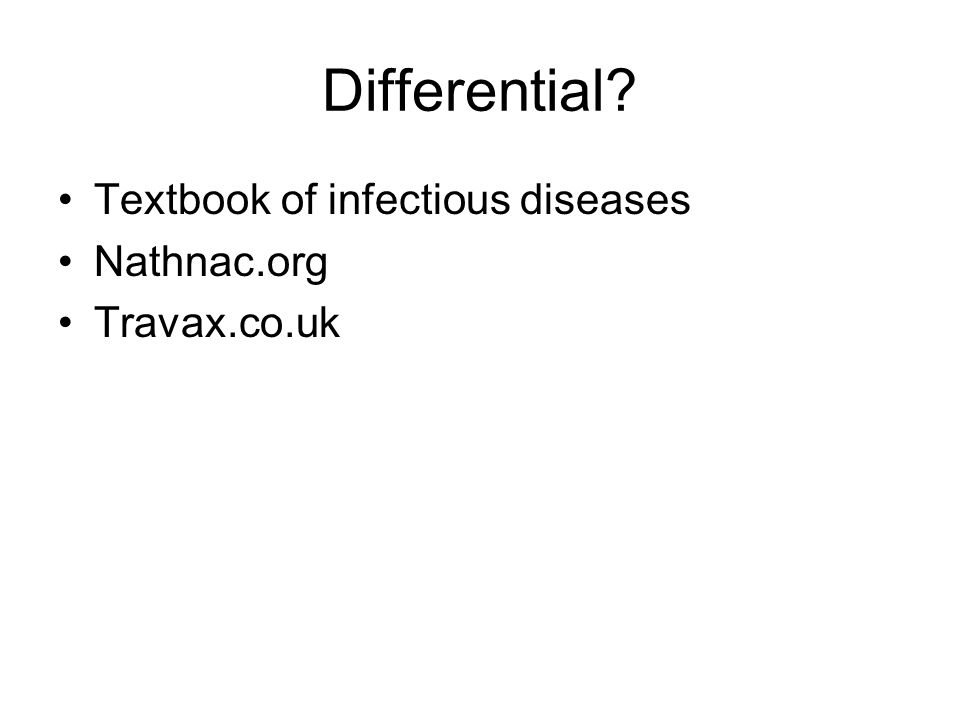Differential Textbook of infectious diseases Nathnac.org Travax.co.uk