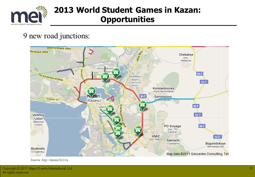 2013 World Student Games in Kazan: Opportunities Copyright © 2011 Major Events International Ltd All rights reserved 12 Source:   9 new road junctions: